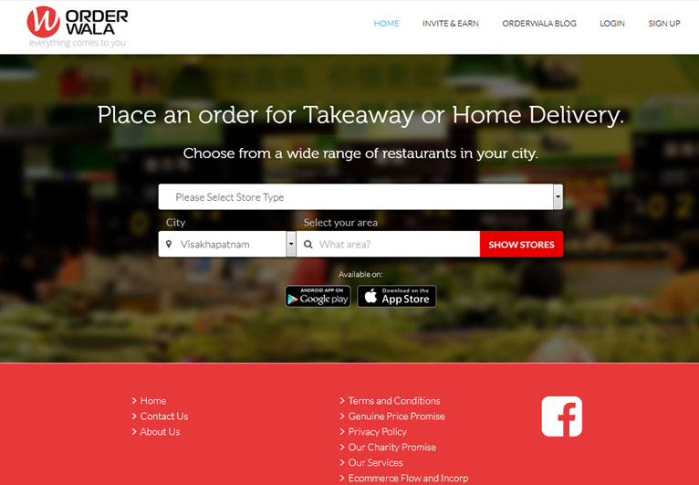 Card image of a food delivery website - Orderwala